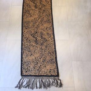 Leopard Animal Brown Velvet Sheer Rectangle Scarf
